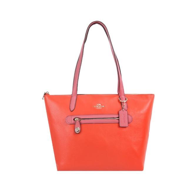 【COACH】專櫃款Taylor馬車素面皮革前口袋肩背托特包(珊瑚紅X桃)