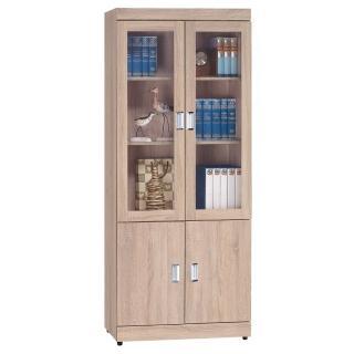 【顛覆設計】利佛2.7尺原橡色四門書櫃