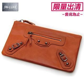 【JW】LUXE系列-真皮羊皮大理石紋全復刻機車手拿包(共4色)