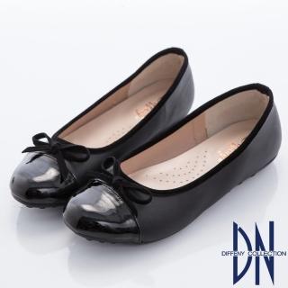 【Diffeny】甜美漫步 優雅蝴蝶結拼接平底豆豆鞋(黑)