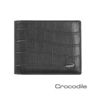【Crocodile】經典鱷魚壓紋短夾0103-4006(義大利真皮皮革)