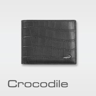 【Crocodile】經典鱷魚壓紋短夾0103-4003(義大利真皮皮革)