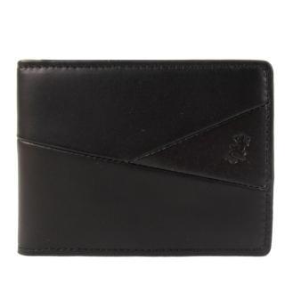 【agnes b.】蜥蜴皮革車線切紋ID車票夾(黑)