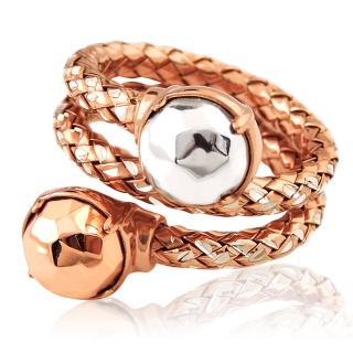 【MONT BLANC 萬寶龍】編織雙圈造型純銀戒指-玫瑰金色(52號)