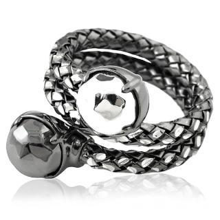 【MONT BLANC 萬寶龍】編織雙圈造型純銀戒指-金鋼銀色(52號)