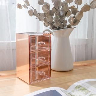 【目喜生活】桌上型實用金屬壓克力抽屜(3格辦公室收納抽屜盒)