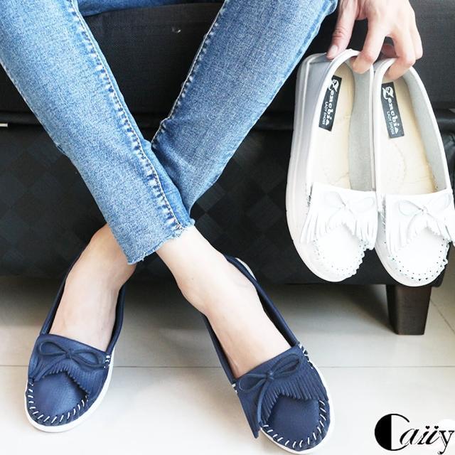 【Caiiy】蝴蝶結流蘇車線莫卡辛休閒鞋 AF302(白/藍)