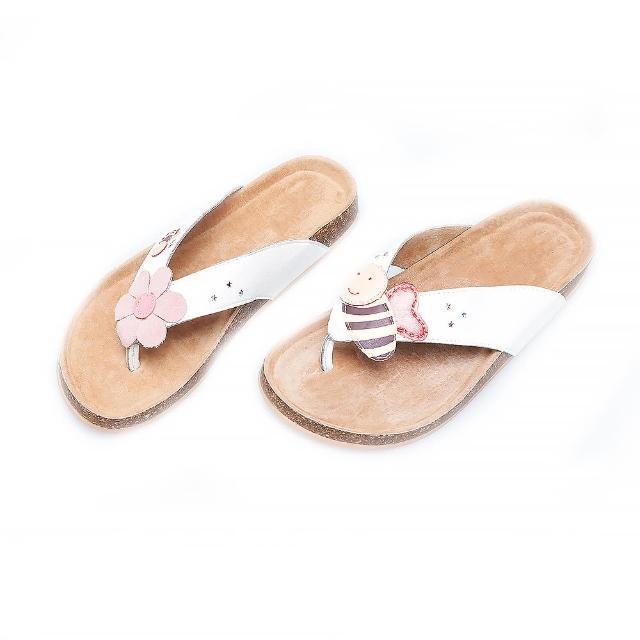 【Jingle】小蜜蜂採花蜜夾腳軟木涼鞋(清新白大人款)