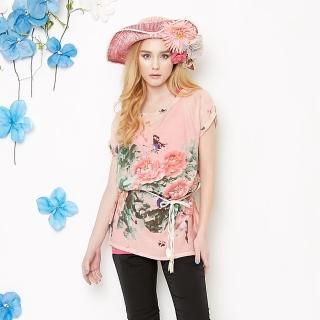 【A3】中國牡丹花蝶長版上衣(粉色)