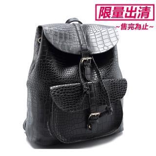 【JW】香堤法鱷魚壓紋束口手肩側三用後背包(共5色)