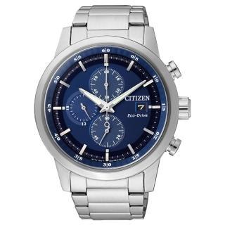 【CITIZEN星辰】Eco-Drive光動能 簡約時尚三眼計時腕錶-藍/ 43mm(CA0610-52L)