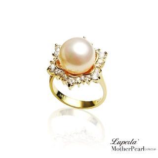 【大東山珠寶】南洋貝寶珠 璀璨純銀戒指 雪花燦爛 高雅金(南洋貝寶珠)