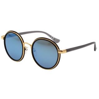 【Calvin Klein】水銀藍 復古圓面 太陽眼鏡 CK1227SK(黑色)