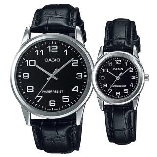 【CASIO】奢華浪漫皮帶造型男女對錶(MTP-V001L-1B+ LTP-V001L-1B)