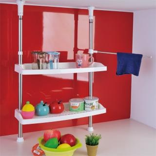 【ikloo】不鏽鋼小頂天廚房雙層置物架