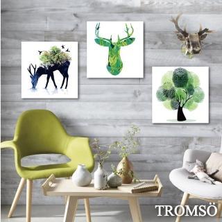 【TROMSO】時尚無框畫/綠鹿森林(三幅一組無框畫40X40CM)