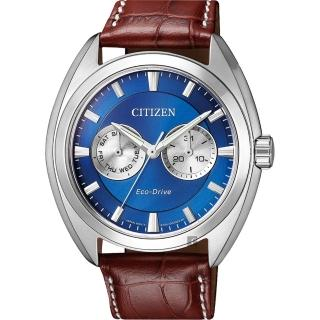 【CITIZEN 星辰】Eco-Drive光動能日曆手錶-藍/ 43mm(BU4011-11L)
