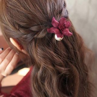 【UNICO】日韓簡約珍珠花朵髮圈