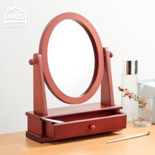 【Amos】古典佳人抽屜桌上化妝鏡(桌上鏡/化妝鏡/實木框鏡)