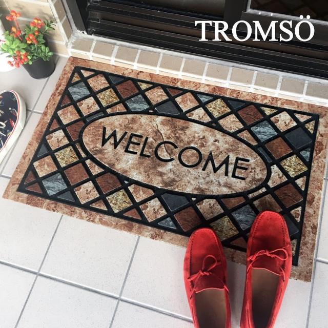 【TROMSO】戶外植絨橡膠厚實刮泥大地墊-英式菱格(戶外地墊踏墊)/