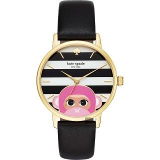 【KATE SPADE】Merto 限量 粉紅QQ猴腕錶-34mm(KSW1259)