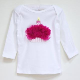 【美國 Chic Baby Rose】手工雪紡純棉上衣_生日蛋糕款(長袖 / 覆盆子)
