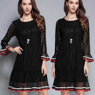 【麗質達人】2762蕾絲拼接洋裝(M-5XL)