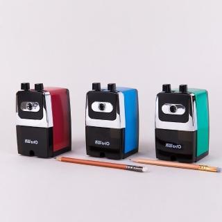 【KW-triO】鐵殼事務用削筆機 大型 0307A(藍綠紅三色/強硬刀芯/堅固耐用/可使用7-8mm鉛筆及色筆)