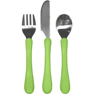 【美國 green sprouts】寶寶學習吃飯湯匙叉子3入組_草綠組(GS175860-3)