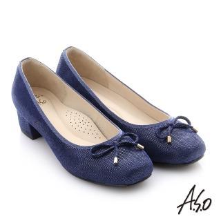 【A.S.O 阿瘦集團】個性美型 絨面羊皮蝴蝶結中跟鞋(深藍)