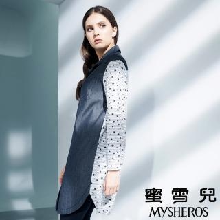 【mysheros 蜜雪兒】純棉牛仔拚接星星印花長版襯衫(藍)