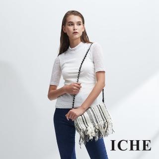 【ICHE 衣哲】小立高領立體紋五分袖造型百搭上衣-白