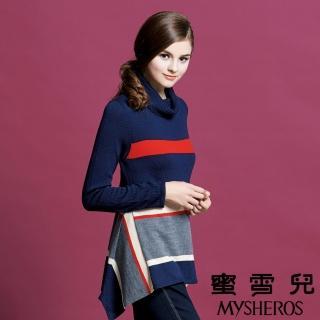 【mysheros 蜜雪兒】翻領羊毛配色橫條紋針織上衣(藍)