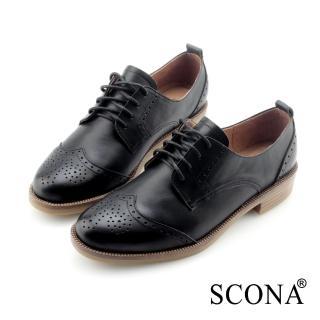 【SCONA 蘇格南】全真皮 英式雕花綁帶牛津鞋(黑色22616-1)