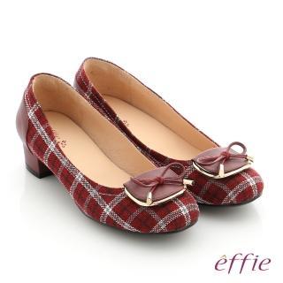 【effie】個性美型 真皮蝴蝶結飾釦格紋低跟鞋(暗紅)