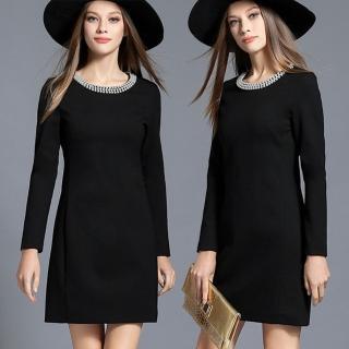 【麗質達人】2630黑色釘珠長袖洋裝(M-5XL)
