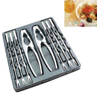 【PUSH!】不銹鋼吃螃蟹工具蟹夾蟹具核桃夾家庭餐廳適用(8件套 D33)