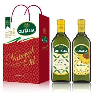 【Olitalia 奧利塔】純橄欖油+葵花油禮盒組(1000mlx2瓶)
