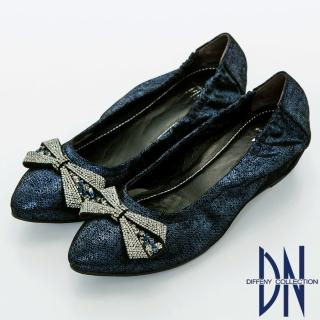 【DN】優雅名媛 浪漫蝴蝶結鑽飾尖頭內增高鞋(藍)