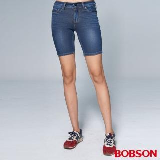 【BOBSON】女款1971日本黑標針織牛仔短褲(BSL003-WD)