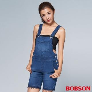 【BOBSON】女款1971日本黑標吊帶短褲(BSL006-WD)
