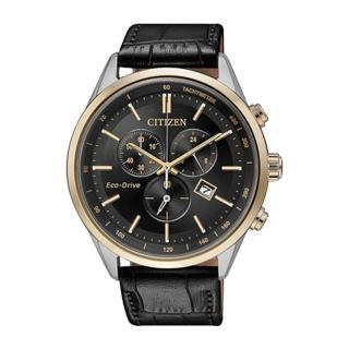 【CITIZEN 星辰】男錶計時碼錶  小牛皮錶帶  黑  藍寶石玻璃  光動能(AT2144-11E)