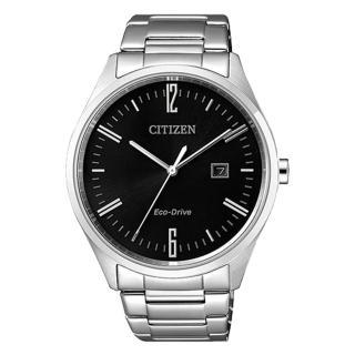 【CITIZEN 星辰】送禮首選 指針男錶 不鏽鋼錶帶 黑 光動能 防水(BM7350-86E)