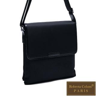【Roberta Colum】現代雅痞休閒配真皮掀蓋雙袋側背包-共2色