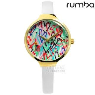 【RumbaTime】Orchard Love 紐約設計師品牌 彩色愛心礦石玻璃防水真皮手錶 紅綠藍x金框x白 32mm(RU27877)