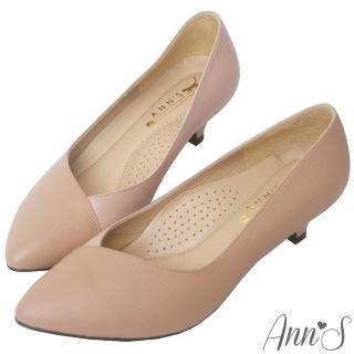 【Ann'S】頂級小羊皮拼接V口低跟尖頭鞋(粉)