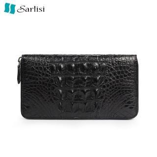 【Sarlisi】至尊鱷魚皮長夾皮夾背骨商務手拿包黑色(背骨黑色)