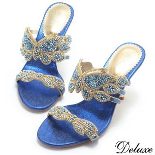 【Deluxe】夏日優雅水鑽蝴蝶高跟拖鞋(藍)