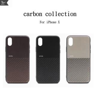 【Mokka】iphone X 復古仿碳纖維拼接手機保護殼(手工背蓋 皮背蓋)