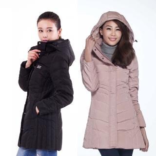 【遊遍天下】女款長版JIS90%拒水羽絨防風防潑水禦寒外套(S-3L)